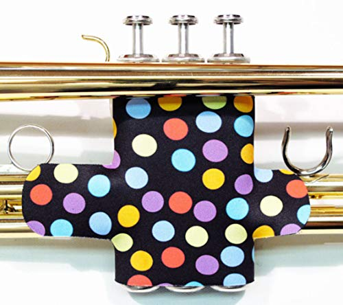 Trumpet valve protector guard with hook and loop closure in colors and patterns - Trumpet Valve Guard Legacystraps Polka-Dot Design