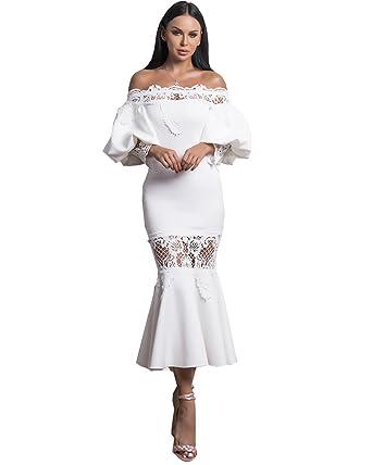 5a56e6f28a22 Miss ord Women Sexy Off Shoulder Lantern Sleeve Dresses Female Lace Dress  Casual Mermaid Dress S