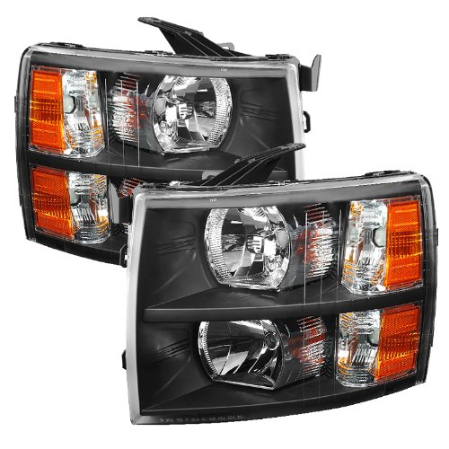 Chevy Silverado Crystal Headlights Black Housing With Clear Lens