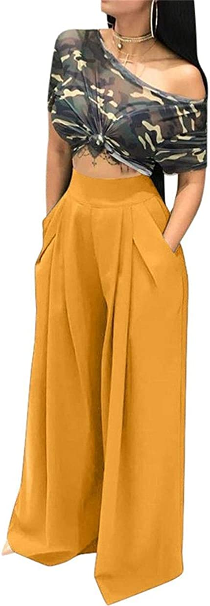 LROSEY Women's Stretchy Solid Color High Waisted Wide Leg Palazzo Pants with Pockets