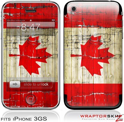 iPhone 3GS Decal Style Skin - Painted Faded and Cracked Canadian Canada - Cracked 3gs Iphone