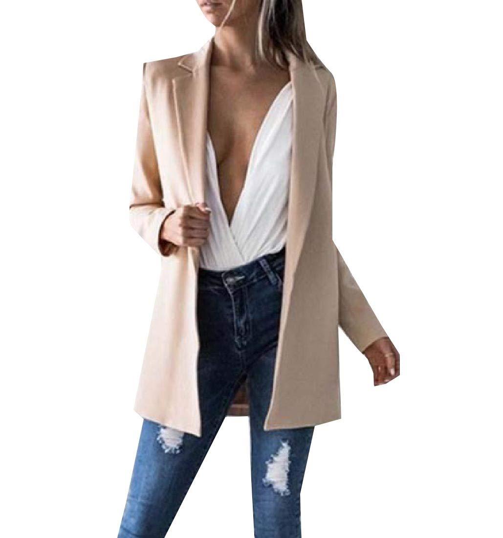 Doufine-women clothes Womens Coat Lapel Flexible Fit Cardigan Blazer Casual Suit Jacket Khaki L