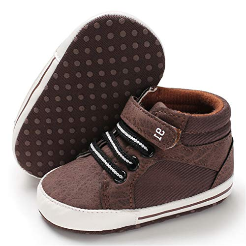 BENHERO Baby Girls Boys Canvas Shoes Toddler Infant First Walker Soft Sole High-Top Ankle Sneakers Newborn Crib Shoes (0-6 Months M US Infant, E-Brown