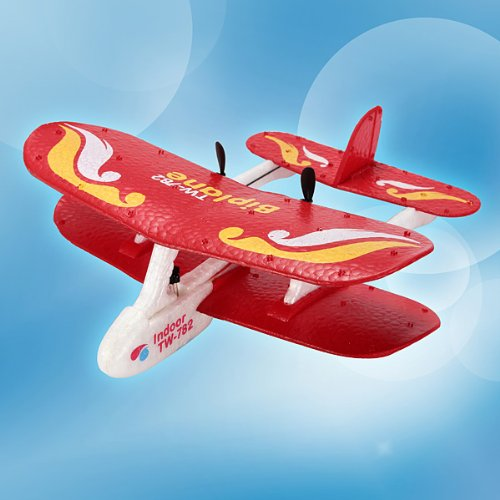 Red Cessna 782 RC Biplane Mini Airplane Infrared - 4 Ch Rc Trainer Airplane