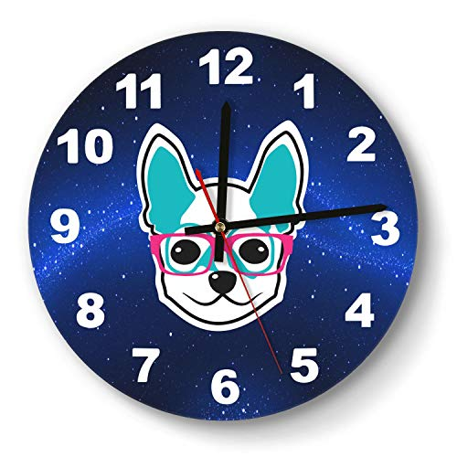 saedes Chihuahua Dog Whit Pink Glasses Pet Head Wall Clock Decorative Wall Clock Round Easy to Read Home/Office/School Clock,Wall Clocks Silent Battery Operated