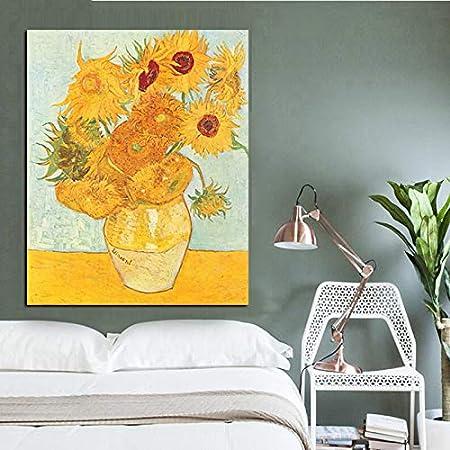 SILYHN Imprimir Resumen Vincent Gold Sunflower Pintura al óleo sobre Lienzo Original Florero Floral Wall Poster para Sala de Estar