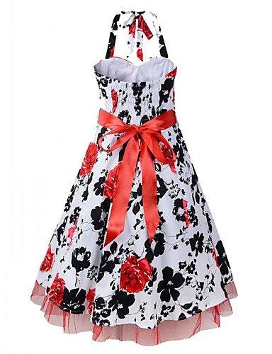 PU&PU Robe Aux femmes Vintage , Imprimé Licou Au dessus du genou Coton / Polyester , red-l , red-l