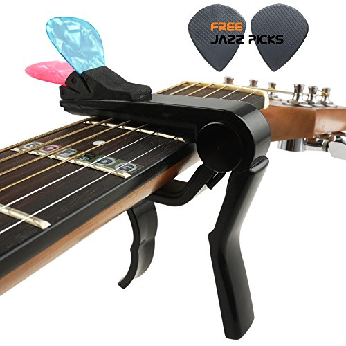 Mr.Power Universal Guitar Clip Capo With Pick Holder For Folk Acoustic Electric Steel String Guitar For Bass Guitar and Ukulele Also (Black, Zinc Alloy Metal)