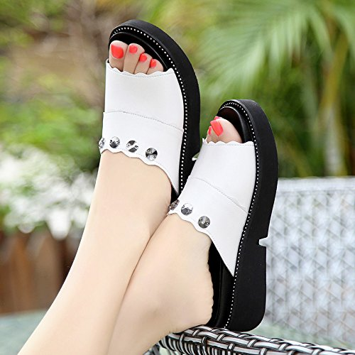 KHSKX-Cuñas Muffin Moda Ropa Sandalias Y Zapatillas De Suela Gruesa. white