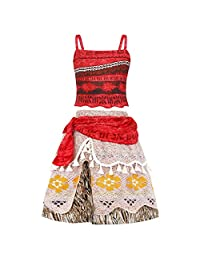 AmzBarley Moana Dress Girls Outfit Lace Short Sleeve Party Cosplay Clothes