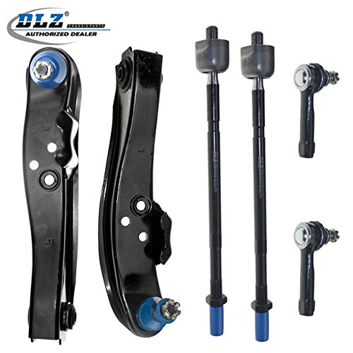 DLZ 6 Pcs Suspension Kit-Lower Control Arm Ball Joint Assembly Inner Outer Tie Rod End Compatible with 1989 1990 1991 1992 1993 1994 Nissan 240SX ()