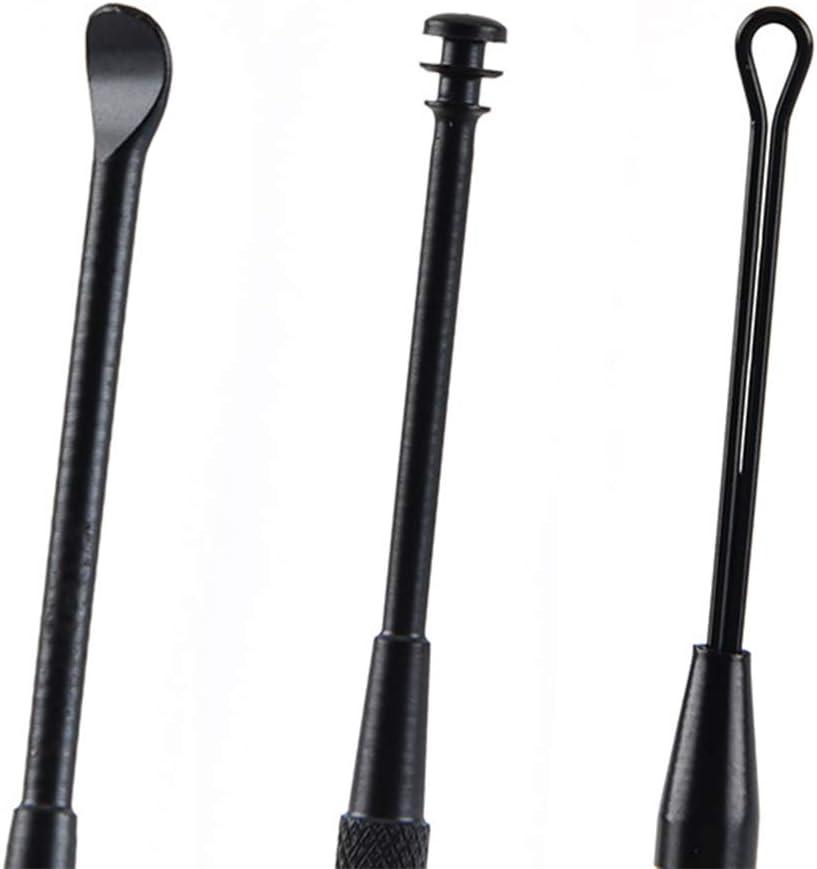 schwarz SUPVOX 5pcs Ear Pick Edelstahl Doppelkopf-Ohrreiniger f/ür Erwachsene