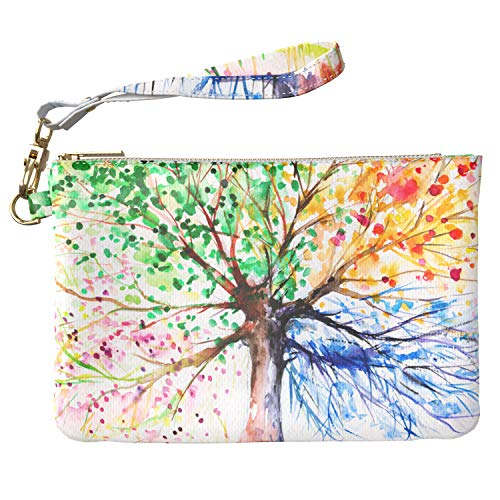 667025afa3d2 Lex Altern Makeup Bag 9.5 x 6 inch Watercolor Tree Colorful Artwork  Seasonal Pouch Cosmetic Travel PU Leather Case Toiletry Women Zipper  Organizer ...