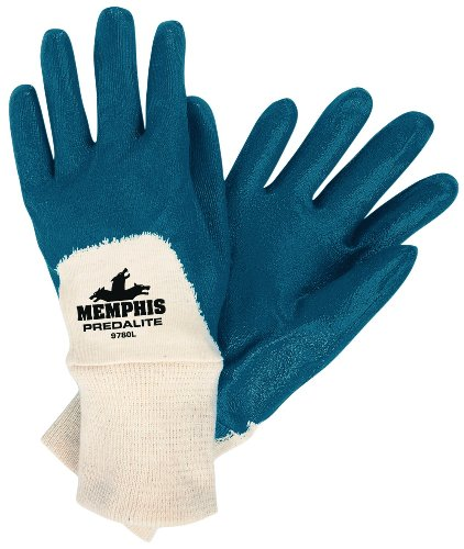 (MCR Safety 9780L Predalite Nitrile Rubber Palm Coated Gloves with Knitted Wrist, Blue/White, Large, 1)