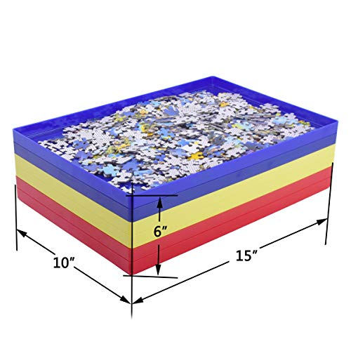 Vencer Puzzle Stack Sorting Trays for 1,000 Loose Pieces- Puzzle Gift