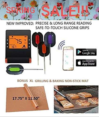 (WIRELESS MEAT THERMOMETER + FREE XL NON-STICK COPPER MAT for BBQ, Grill, Bake & Smoke. Bluetooth/Phone digital LCD display Silicone FDA Probes, IMPROVED MODEL for Cooking, Grilling, Baking & Smoking)