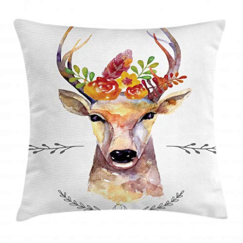 """Ambesonne Indie Throw Pillow Cushion Cover, Deer Portrait in Watercolor Painting Style Boho Flower Bouquet Hipster Rustic Artwork, Decorative Square Accent Pillow Case, 16"""" X 16"""", White Orange"""