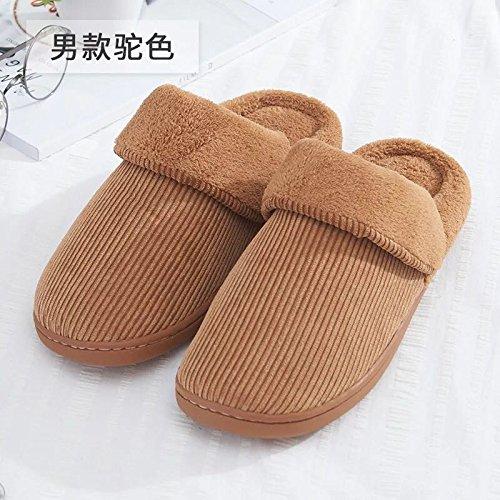 Fankou Autunno e Inverno colore solido cotone pantofole indoor anti-slittamento caldo di spessore pattini accoppiano ,43/44, caffè di luce