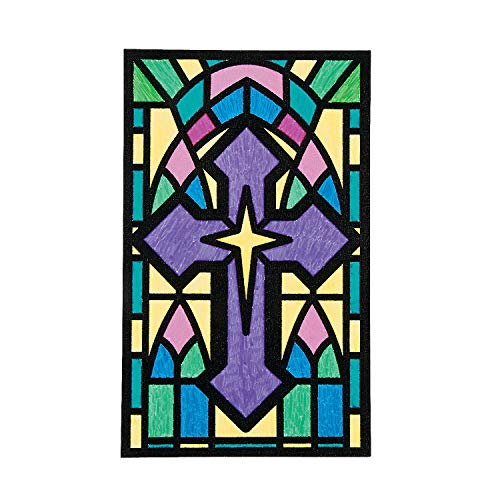 Stained Glass Cross Craft (Fun Express - Cyo Cross Fuzzy Pictures - Craft Kits - CYO - Fuzzy - Posters - 12)
