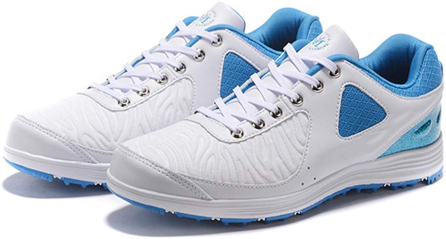 XFQ Zapatos De Golf De Los Hombres, De Peso Ligero Casual Campo De Formadores Impermeable Spikeless Respirable Con Cordones De Las Zapatillas De Deporte Al Aire Libre,Azul,39EU: Amazon.es: Ropa y accesorios