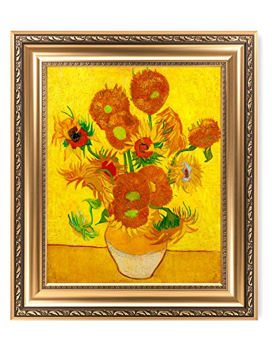 DECORARTS - Sunflowers, Vincent Van Gogh Art Reproduction. Giclee Print& Framed Art for Wall Decor. Picture Size: 20x16, Framed Size: 26x22 ()