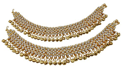 Jwellmart Women's Ethnic Collection Faux Pearl Gold Polish Ghungroo CZ Anklets ()