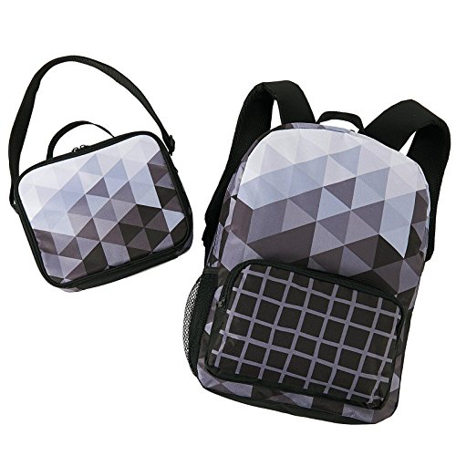 Backpack Nap Sack (Black & White Fractal School Supplies Canvas Backpack and Lunch Tote Bag)