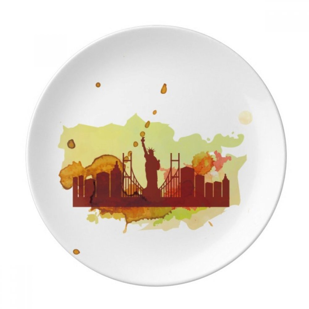 USA America New York City Liberty Watercolor Dessert Plate Decorative Porcelain 8 inch Dinner Home