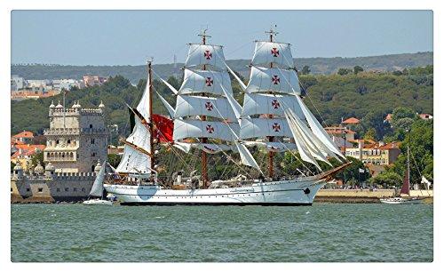 Portugal Sailing Ships NRP Sagres III, Sagres, Lisbon, Tagus River, Belem Tower Cities travel sites Postcard Post card
