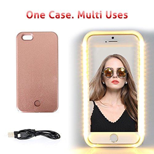 Walnut LED Lightning Selfie Phone Case, Fab for Selfies/Applying Make-Up/Flashlight/Videos/Facetime, Protects Phone & includes Charger For iPhone 6 Plus/6S Plus-Rose - Lighted Walnut