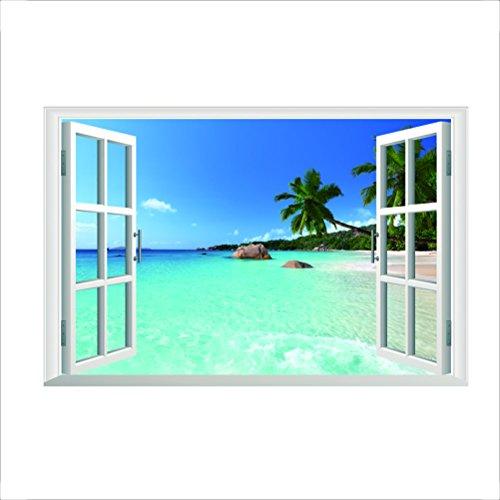 Kuke Large Removable Beach Sea 3D Window Decal Wall Sticker Home Decor Exotic Beach View Art Wallpaper Mural