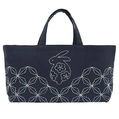 Olympus Made in Japan SASHIKO Lovely Rabbit Mini Tote Bag Needlework Kit , Finished Size : L 8.66 x W 16.53 x G 3.93 Inch