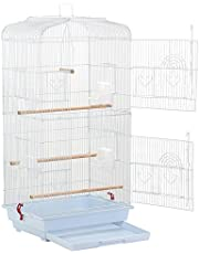 Yaheetech Cage Oiseaux 46 x 35 x 92 cm Volière Oiseau Portable à Perruches/Canaris/Calopsitte avec mangeoire perchoirs Blanc