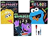Sesame Street Write and Wipe Workbooks: Numbers, Colors and Alphabet, with 3 Dry Erase Markers