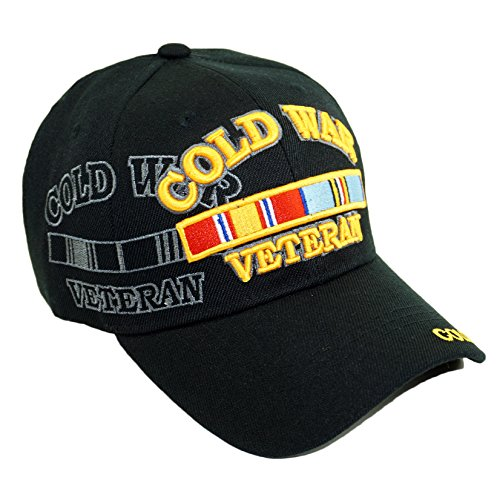 U.S. Military Official Licensed Embroidery Hat Army Navy Veteran Baseball Cap (Cold WAR Veteran-Black)