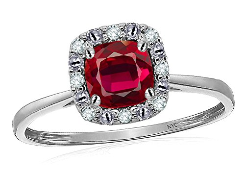 Star K 10 kt White Gold Classic Cushion Cut Created Ruby Designer Halo Ring Size 7 (Ruby Cushion Cut)