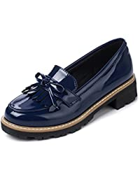 Womens Penny Loafers Flat Low Heel Bow Tassel Patent Leather Slip On Shoes