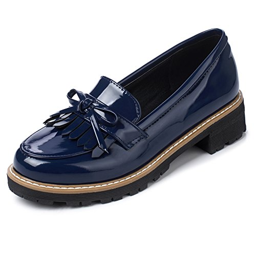 Patent Penny Loafer (Ifantasy Women's Penny Loafers Flat Low Heel Bow Tassel Patent Leather Slip On Shoes)