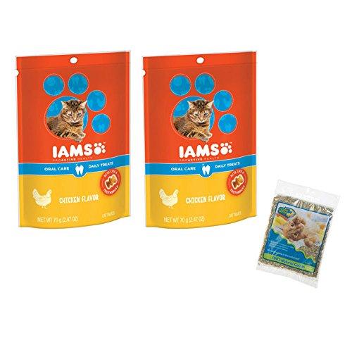 Catnip Treats Salmon - Iams Proactive Health Oral Care Daily Cat Treats Variety Bundle- Chicken and Salmon 2.47oz and Catnip Bundle