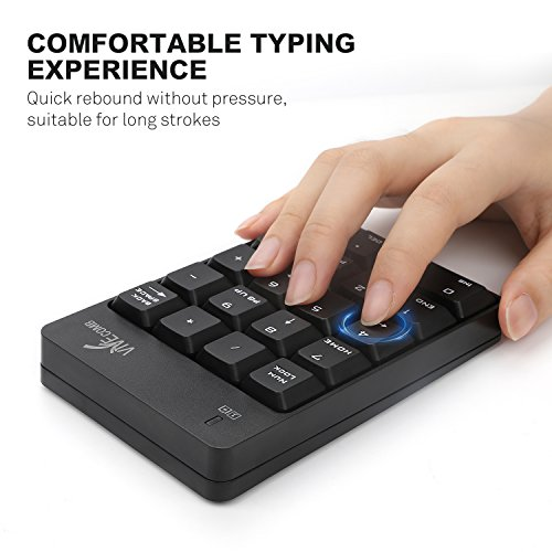 Wireless Numeric Keypad, Vive Comb External Number Pad Portable Numpad With 2.4G Mini USB Receiver for Laptop, Desktop, PC, Notebook-Black by Vive Comb (Image #2)