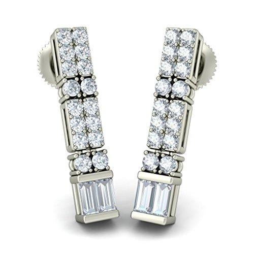 Or blanc 18K 0.572CT TW Round-cut-diamond (IJ | SI) Pendants d'oreilles