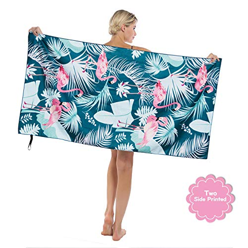 "Sylfairy Beach Towel Unicorn Beach Blanket Towel Mat 31"" x 63"" Ultra Soft Super Water Absorbent Multi-Purpose Beach Throw Towel for Travel Pool Swimming Bath Camping Yoga Gym Sports (Flamingo)"