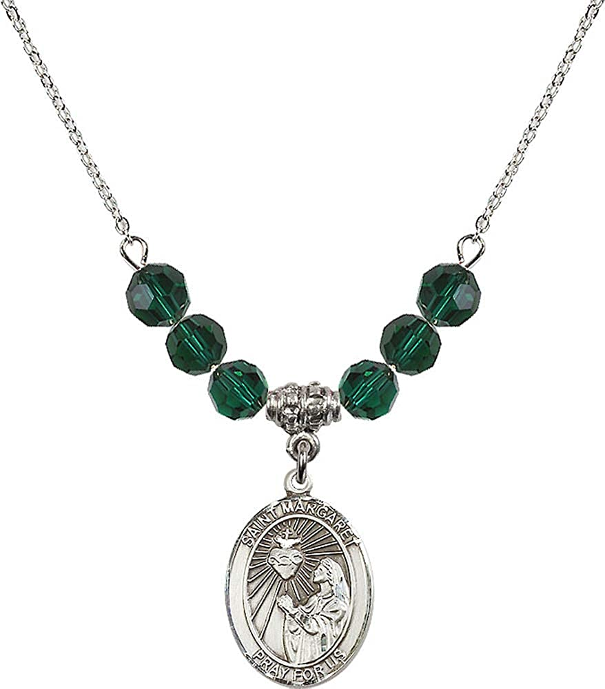 18-Inch Rhodium Plated Necklace with 6mm Emerald Birthstone Beads and Sterling Silver Saint Margaret Mary Alacoque Charm.