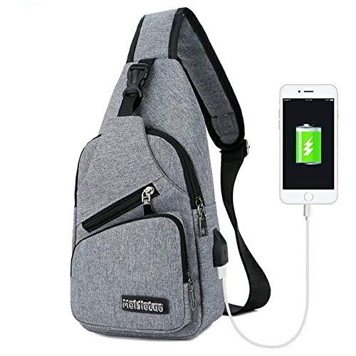 Y Carga USB Mujer Con Bandolera Puerto Para Mochila De Bandolera Hombre Lienzo Para Bolso Ligera Hgqvwapf
