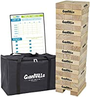 Giant Tumbling Timber Toy - Jumbo Wooden Blocks Floor Game for Kids and Adults, 56 Pieces, Premium Pine Wood, Carry Bag, Lif