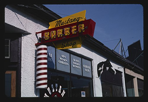 2004 Mustang Pictures - Vintography 16 x 24 Photo of Mustang Barber Shop, Billings, Montana 2004 Ready to Frame 88a