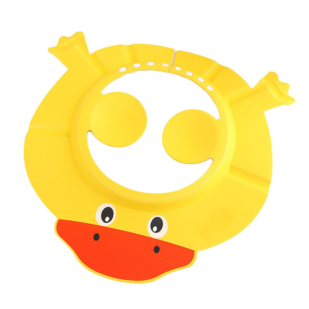 HOTUMN Baby Shower Cap Adjustable Baby Visor Caps with Ear Protection Pads to Keep The Water Out of Their Eyes & Face & Ears for Baby Kids Toddler Children (Duck, Yellow)