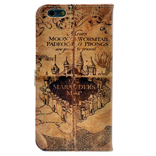 Harry Phone Potter Cell - iPhone 6S Plus Wallet Case, Hogwarts Marauder's Map Vintage Old Pattern Leather Wallet Card Flip Stand Case Cover For Apple iPhone 6 Plus,iPhone 6S Plus 5.5