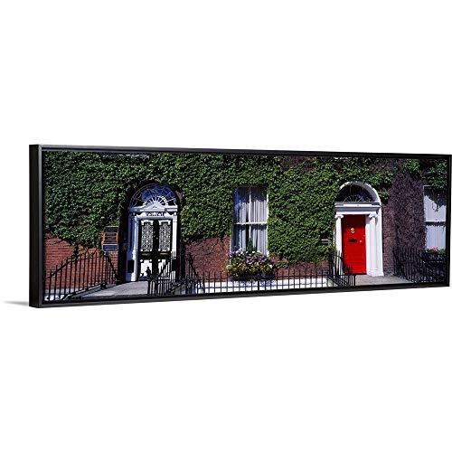 "The Irish Image Collection Floating Frame Premium Canvas with Black Frame Wall Art Print Entitled Georgian Doors, Fitzwilliam Square, Dublin, Ireland 60""x20"""