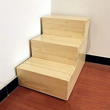 GYX Taburete de madera con 3 peldaños Escalera para adultos y niños Artículos para el hogar Taburetes portátiles pequeños para pies Banco de zapatos Bastidor de flores Taburete con peldaños de interi: